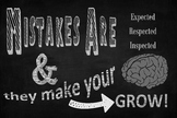 Growth Mindset Mistakes Poster Chalk Sign