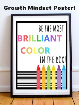 Growth Mindset Motivational Posters - Bright Colors - Rainbow Crayons