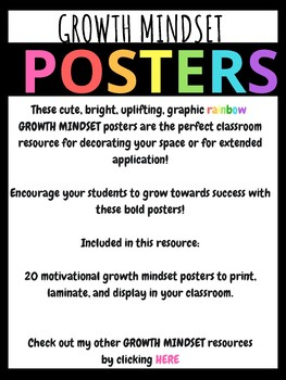 Growth Mindset Motivational Posters - Bright Graphic Rainbow POSTERS
