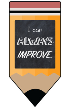 Growth Mindset Motivational Posters - Pencil Chalkboard Theme