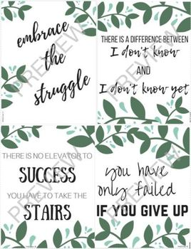 Growth Mindset Motivational Posters (leaf theme)