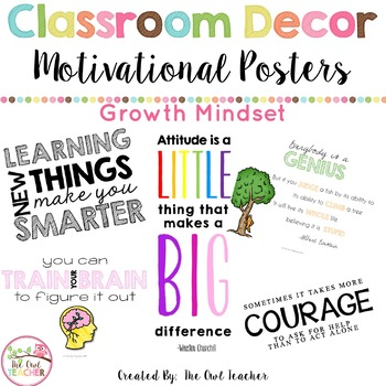 Growth Mindset Motivational Quotes Posters