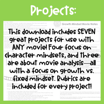 Growth Mindset Movie Projects (Use with ANY Movie, Rubrics Included)
