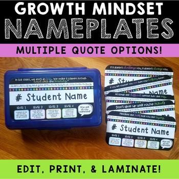 Growth Mindset Nameplates - Neon Dots
