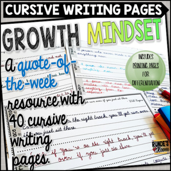 Cursive Handwriting Practice Printables with a Growth Mindset Theme