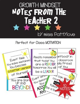 Growth Mindset Notes From the Teacher! Vol. 2