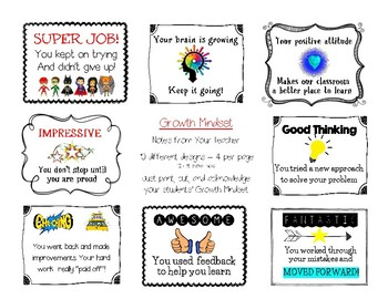 Growth Mindset: Notes from your teacher