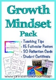 Growth Mindset Pack including Posters, Reflection Cards, C