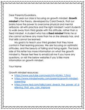 Growth Mindset Parent Letter