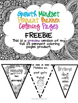 Growth Mindset Pennant Banner Coloring Pages - Freebie