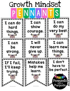 Growth Mindset Pennants - {Pennants with a Purpose}