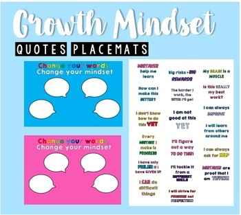 Growth Mindset Placemats