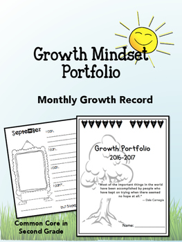 Growth Mindset Portfolio- Self-Portraits, Reading Growth! First Grade