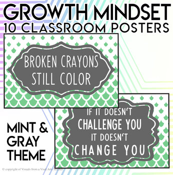 Growth Mindset Positive Message Posters - Mint Gray Design