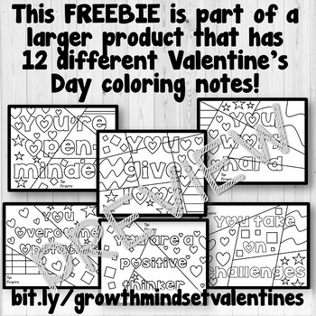 Growth Mindset Positive Notes - Valentine's Day Edition FREEBIE