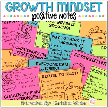 Growth Mindset Positive Notes of Encouragement