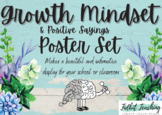 Growth Mindset Positive Saying Poster Set Farmhouse Succul