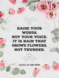 """Raise Your Words"" Growth Mindset Floral Poster"