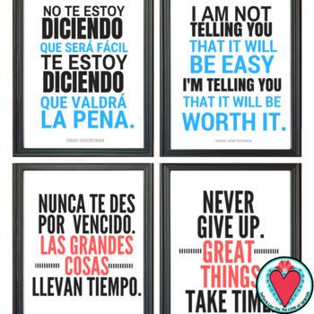 Growth Mindset Poster Bundle - Bilingual Resource