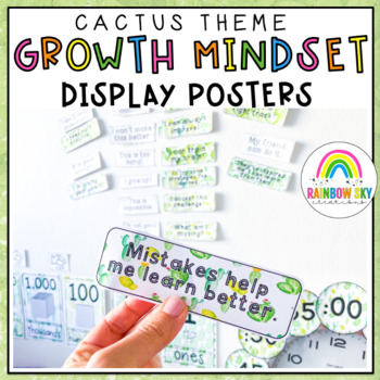 Growth Mindset Poster Display {Growth mindset posters} Cacti & Succulent Theme