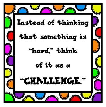 Growth Mindset Poster Hard vs. Challenge