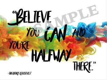 Growth Mindset Poster Pack - Coloured Smoke Theme - Back to School - Motivation