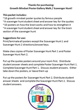 Growth Mindset Poster Scavenger Hunt