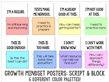 Growth Mindset Poster Set for Bulletin Board or Classroom