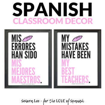 Growth Mindset Poster - Spanish / English - Mistakes