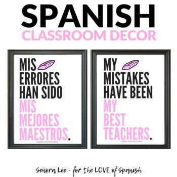 Growth Mindset Poster - Spanish / English - Mistakes