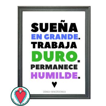 Growth Mindset Poster - Spanish / English - DREAM BIG