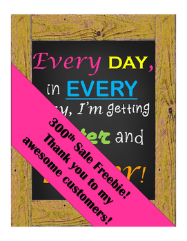 Growth Mindset Poster Thank you freebie to customers for 3