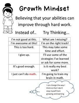 Growth Mindset Poster or Handout