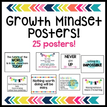 Growth Mindset Posters - 25 Posters!