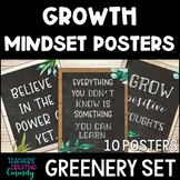 Growth Mindset Posters Plants with Wood & Chalkboard Background