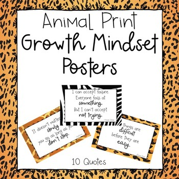 Growth Mindset Posters-Animal Print Design