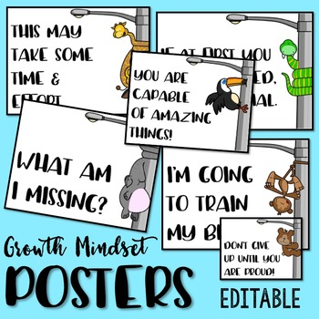 Growth Mindset Posters: Animals (EDITABLE)