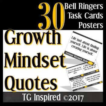 30 Growth Mindset: Posters - Bell Ringers - Task Cards: vol.1 Sleek Black