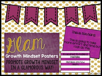 Growth Mindset Posters: Berry & Gold