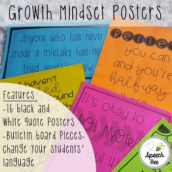 Growth Mindset Posters--Black Ink Only!