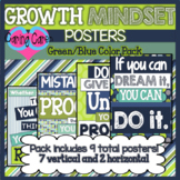 Growth Mindset Posters: Blue & Green Color Pack