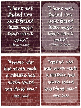 Growth Mindset Posters - Brick Wall Themed!