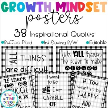 Growth Mindset Posters Buffalo Plaid Design