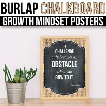 Growth Mindset Posters Burlap Chalkboard, Growth Mindset Bulletin Board Ideas