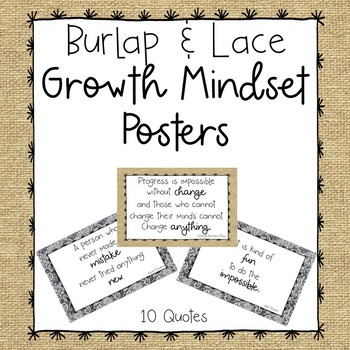 Growth Mindset Posters-Burlap and Lace