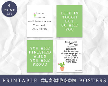 Growth Mindset Posters, Cactus Classroom Decor, Southwest Classroom Decor