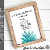 Growth Mindset Posters Cactus Farmhouse Theme
