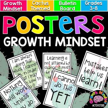 Growth Mindset Posters (Cactus) for Grades 3-8