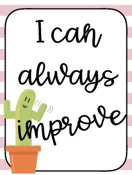Growth Mindset Posters- Cactus theme