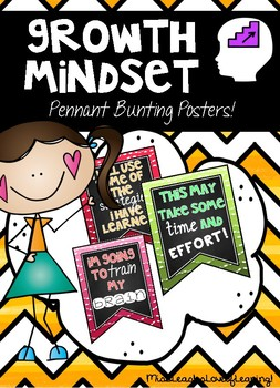 Growth Mindset Posters - Chalboard Brights Bunting
